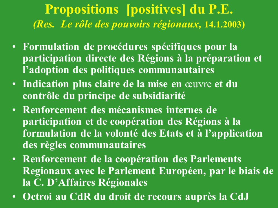 Propositions [positives] du P. E. (Res